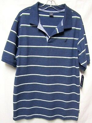 "BOYS YOUTH NAUTICA top shirt POLO XL  Chest 18"" Blue multi Stripe New NWT $36.50"