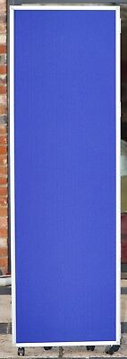 3 Tall Vertical Blue Office Screens on Wheels Room Dividers FREESTANDING Mobile