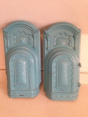 Antique Fancy Cast Iron Fireplace Stove Front With Hinged Door