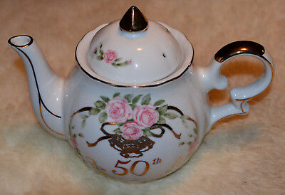 Vintage Lefton Music Box Teapot 50th Anniversary Gold Wedding Bells Works