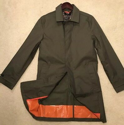 JACK SPADE Men's Coat XS Olive Orange Cotton Blend Trench Jacket  $398