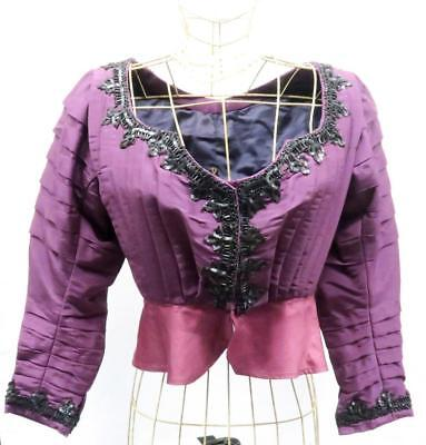 Antique Victorian Purple Boned Bodice Vintage Mourning Dress Steampunk Gothic