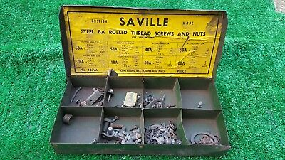Saville metal vintage box with assorted old screws