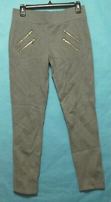 Ci Sono Womens Leggings Stretch Skinny Pull On Zipper Accents Gray Size Large