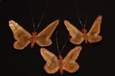 Mid Century Modern Jere Butterfly Wall Sculptures in Copper Brass Signed Simmons