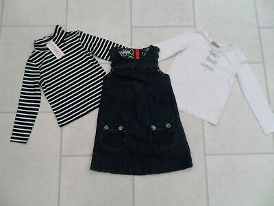 Girls Tops (1xNew) & Denim Pinafore Dress Bundle Age 2/3 Years Inc Next