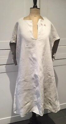 Stunning  Antique Linen French chemise Work Chore Shirt R C smock 19th C Grey