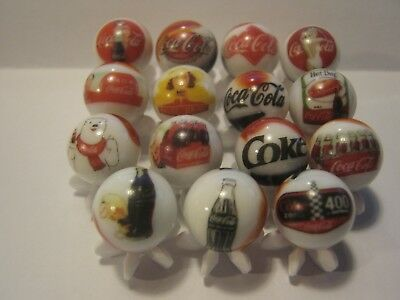 COCA COLA Soda pop Glass Marbles lot with Stands 5/8 size