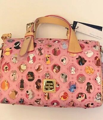 New 2018 Disney Dooney & Bourke Dogs Purse Barrel Cross PINK Stitch Lady Tramp