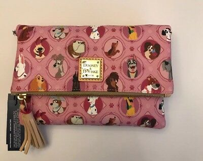 New 2018 Disney Parks Dooney & Bourke Pink Dogs Crossbody Purse Fold Over