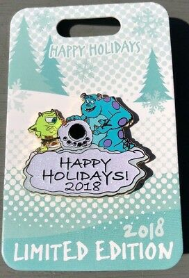 """Disney's Mike And Sulley """"Happy Holidays 2018"""" Pin *New*"""