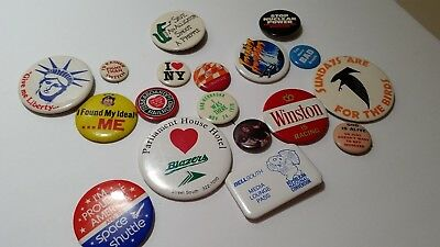 Vintage LOT of 18 Button Pins / Pin Backs - 60's, 70's, 80's GREAT VARIETY