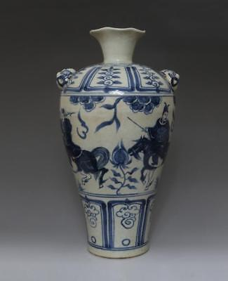 Very Rare Chinese Old Blue And White Porcelain Vase With Soldier 37Cm (624)
