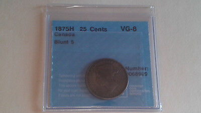 1875H Canada Silver 25 Cents Vg-8 Cccs