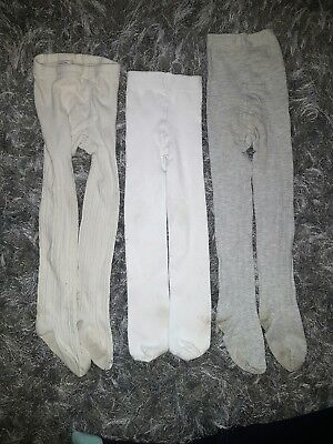 Girls Bundle Gap White Beige Grey Tights Size 4-5 Years