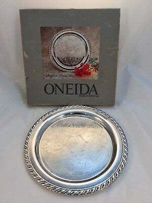 """10"""" Excellent Vintage Condition Oneida Silver Plate Tray Gadrooned Border w/Box"""