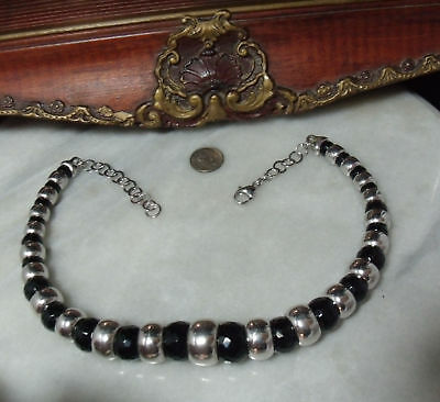 Vintage Sterling Silver Very Super Heavy Black Tourmaline Faceted Bead Necklace