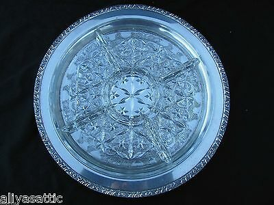 1950's Henley Oneida Community Silverplate Party Platter Galaxy Glass Insert