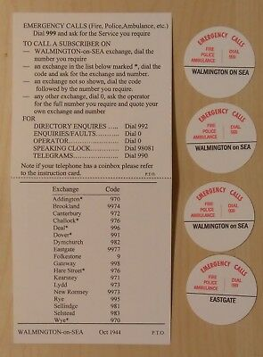 GPO Type 'Dialling Code Card' for Bakelite Telephones - 'Walmington-on-Sea'