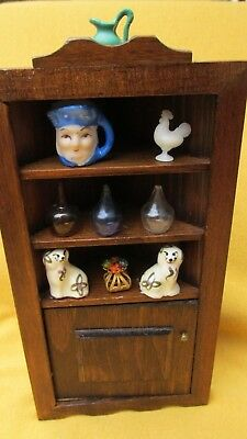 """Dollhouse Miniatures 1"""" Scale Vintage Wooden Corner Cabinet w/Staffordshire dogs"""
