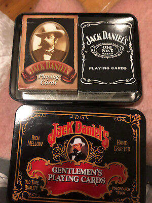 Jack Daniels Gentlemen's 2x Playing Cards Double Deck Tin Case Old 7 Collector