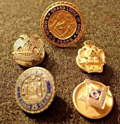 5 Masonic Lapel Pins including 65, 50, and 25 Year Pins