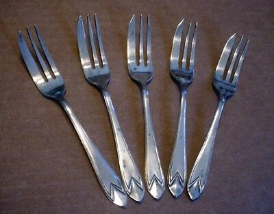 Vintage Lot of 5 Sheffield England EPNS Silverplate Pastry Cake Forks