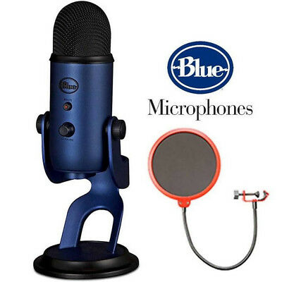 Blue Yeti Professional USB Condenser Microphone - Midnight Blue WITH Pop Filter