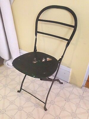 Antique Turn Of The Century Wrought Iron Collapsible Theatre Seat / Chair