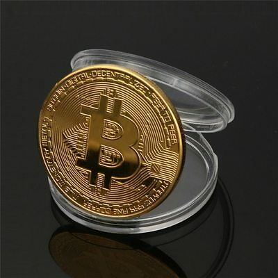 BITCOINS! Gold Plated Commemorative Bitcoin Fine Copper Physical Coin Bit