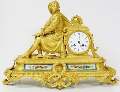 Exceptional Quality Antique French Bronze Ormolu & Sevres Porcelain Mantle Clock