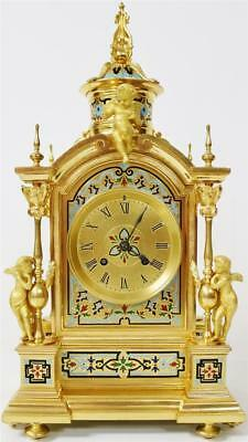 Amazing Rare Antique French 8 Day Ornate Bronze Ormolu & Champleve Mantle Clock