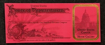 Visitor Pass To The 111th Congress House Of Represenatives