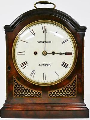 Antique Mahogany C1770 English London Twin Fusee Pad Top Verge Bracket Clock