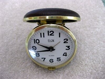 Vintage ELGIN Travel Clam Shell Wind Up ALARM CLOCK  Japan