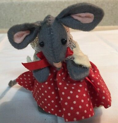 Little vintage Handmade grey mouse in red dress felt Christmas