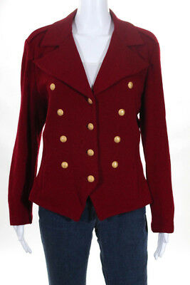 St. John Collection By Marie Gray Womens Long Sleeve Collared Blazer Red Size 12
