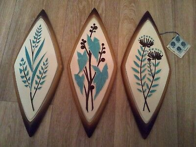 Vintage 3 Syroco Wall Hanging Plaques Turquoise Floral Mid Century Modern