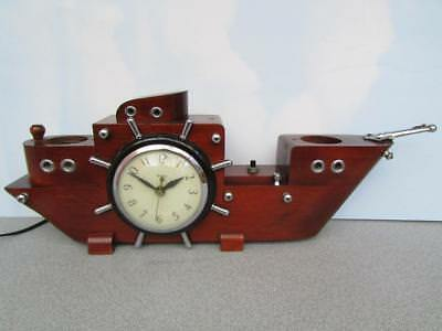 Vintage United Clock Corp Brooklyn Ny Lighted Working Ship Clock Nice No.811