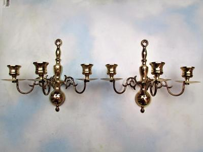 "Vtg Pair Solid Bronze/brass 3-Arm Wall Sconces / Candelabra  9-1/4"" Tall"