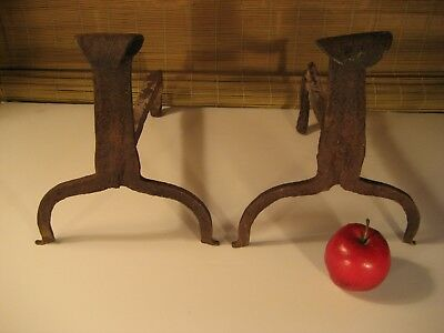Very Early Antique Hand Forged Iron Andirons