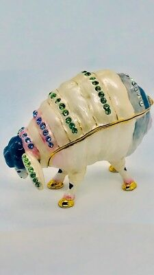Kingspoint Designs Enamel Trinket Box Pill Box Hand Crafted Crystal Sheep