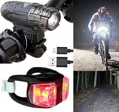 Bright LED Bicycle Bike Front Headlight Lights USB Rechargeable + Rear Tail Set