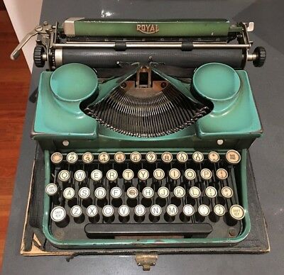 Vintage 1930 Royal Model P Portable Green Metal Typewriter Serial #p196350