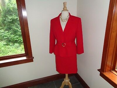 NEW TAHARI Skirt SUIT RED Size 14P Jacket Belted $280