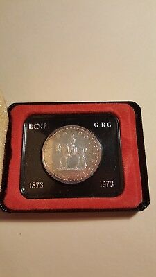 1973 Canadian Rcmp One Dollar Silver Proof Like Coin
