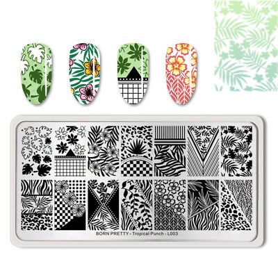 BORN PRETTY Rectangle Nail Stamping Plate Tropical Punch Manicure DIY Decoration