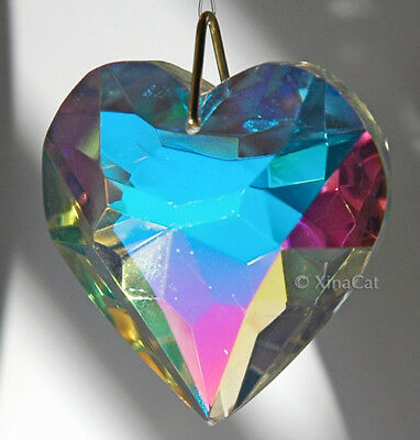 Huge 50mm Heart Crystal Clear AB Facet Prism in Pouch HOT gift 2 inches