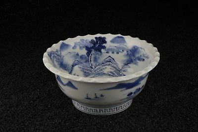 Imari vintage blue and white porcelain footed bowl in blue and white with countr