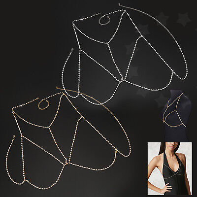 Stylish Crystal Rhinestone Chest Body Chain Harness Necklace Jewelry Gold/Silver